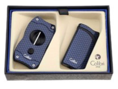 Подарочный набор зажигалка и каттер Falcon синий GS310T04
