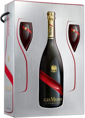 Шампанское Mumm Cordon Rouge gift set with two glasses, 0,75 л.