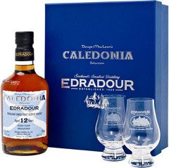 Виски Edradour Caledonia 12 years Old Gift Box With 2 Glasses 0.7 л