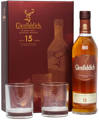 Виски Glenfiddich 15 Years Old, gift box with 2 glasses