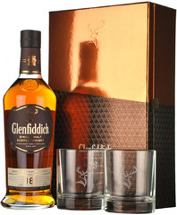 Виски Glenfiddich 18 Years Old, gift box with 2 glasses